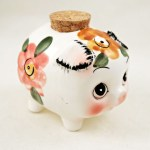 Big Eye Piggy Bank with Hand Painted Decor