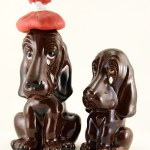This pair of Crying Hound Vintage Redware Bank and Decanter are having a bad day.