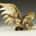 Big, bad, angry rooster vintage brass figurine.