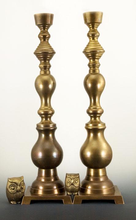 immense antique beehive baluster brass candlestick holder set