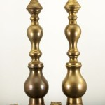 Immense Antique Beehive Baluster Brass Candlesticks Set Very tall…and very unusual.