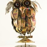 Wonderful big-eyed fluffy feathered Jere Style Owl Music Box in patinated brass.