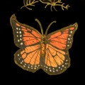 The wood and brass butterfly dishes were inlaid with wood, shell and brass.