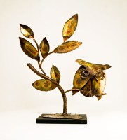 Large artificially patinated vintage brass owl sculpture made in the infamous 'C Jere' style.