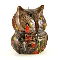 Unique handmade pottery hanging owl chime.