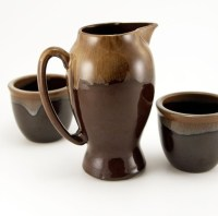 Mid-20th Century redware drip jug from Japan.