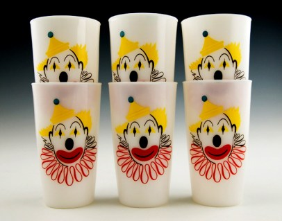 Set of six Hazel Atlas vintage circus clown tumblers circa 1950's.