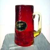 Ruby crackle shot glass is made by Kanawha Art Glass, pattern #158 Benedictine.