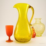 Vintage Blenko handmade art glass pitcher designed and made in the late 1950's during the pre-designer period when Blenko's founder, Bill Blenko, created all form designs.