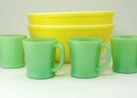Popular 1960's Fire King Jadeite color is a light green, Very popular again today. The American made glass by Anchor Hocking is sturdy and thick and effective in insulating your hot brew.