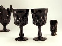 """All are in excellent condition. Set consists of (6) 6.5"""" water/wine and (2) 6.5"""" ice tea. Beautiful retro modern goblets jazz up your table."""