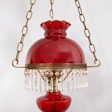 Mid-20th Century vintage Victorian style hanging lamp with real crystals by Fenton Art Glass.