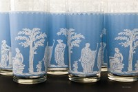 Made of thick, quality mold blown glass. The classical decor is a fired on opaque light blue and white.