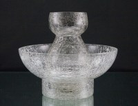 Hyacinth vase and bowl are in fine crackle, accomplished by dipping the hot formed glass in cold water.