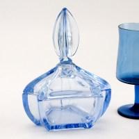 Azure Blue European Art Deco Glass Powder Jar