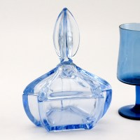 Azure Blue European Art Deco Glass Powder Jar