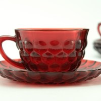 Beautiful patented Royal Ruby color by Anchor Hocking, USA circa 1940's to 1960's. This popular pattern was called Bubble.