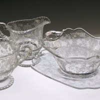 This beautiful Cambridge Rose Point elegant crystal set is perfect for your next fancy coffee klatch, or an intimate coffee for two on the veranda.