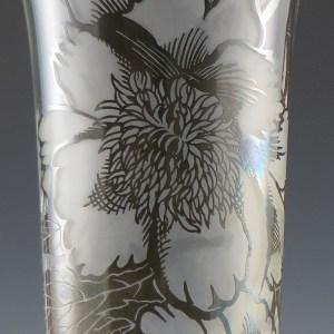 Vintage Cambridge Glass Vase Peony Silver Overlay bySilver City, Circa 1940's