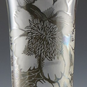 Vintage Cambridge Glass Vase Peony Silver Overlay by Silver City, Circa 1940's