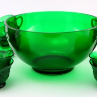 Made of thick, sturdy and durable Forest Green glass. Perfect for any occasion. The punch bowl can be used as a salad or fruit bowl too.