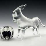 Mid-century decor styling. Large and funky lead crystal free-form donkey.