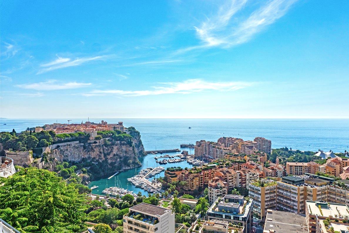 Blick auf den Fürstenfelsen, die Altstadt von Monaco, vom Jardin Exotique aus