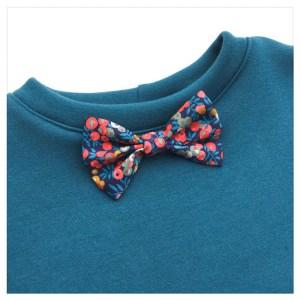 sweat pour bébé et enfant en sweat molleton bleu canard et liberty of london wiltshire nausicaa