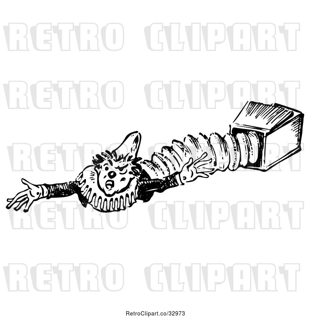 Vector Clip Art Of Retro Jack In The Box Clown Reaching To