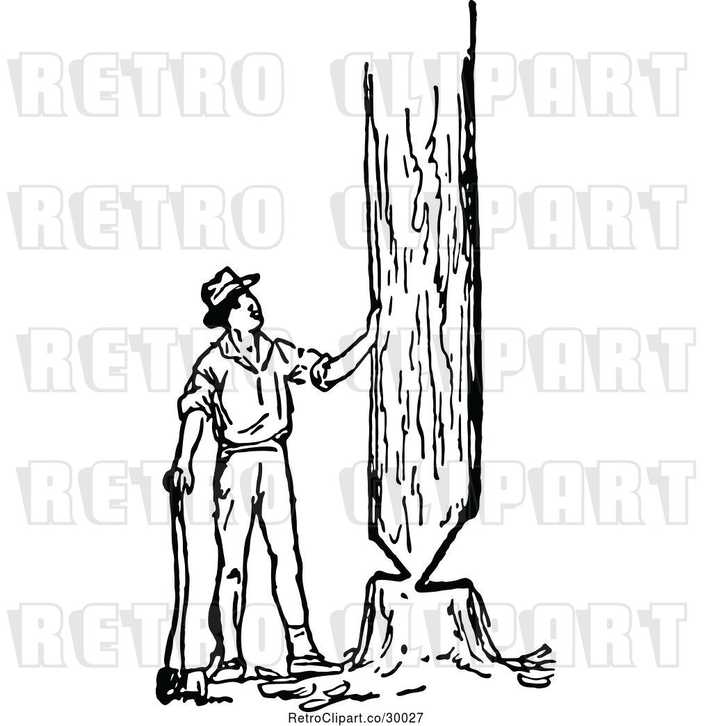 Vector Clip Art Of Retro Lumberjack Guy Cutting Down A
