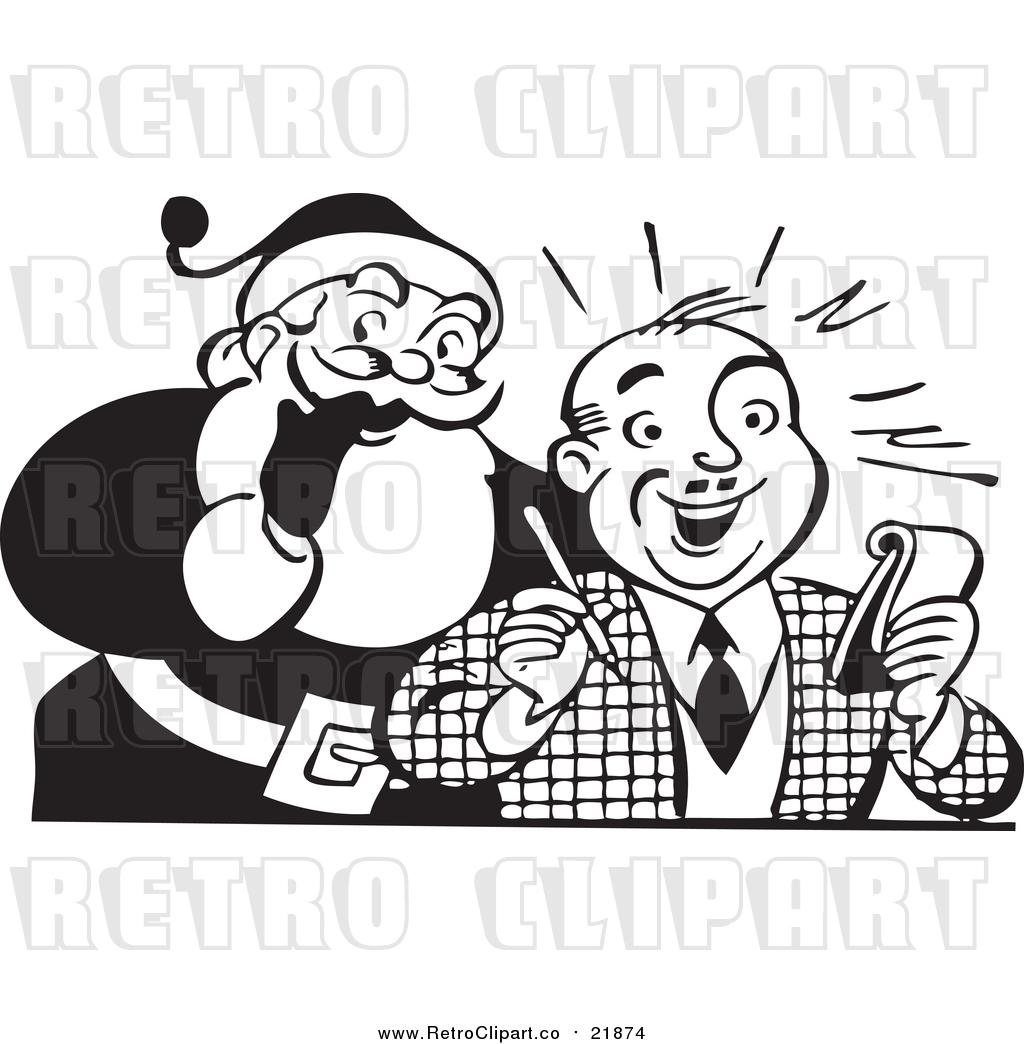 Vector Clip Art Of Retro Santa Claus Beside Man With Pen