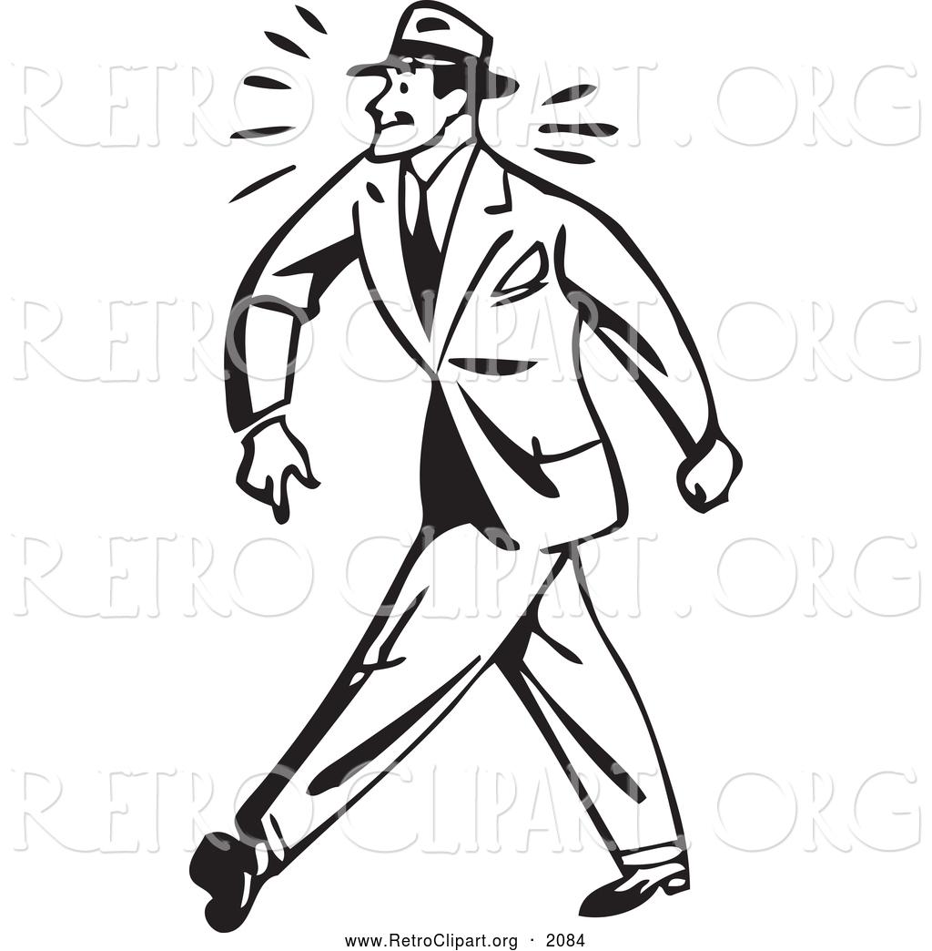 Clipart Of A Black And White Retro Tough Businessman