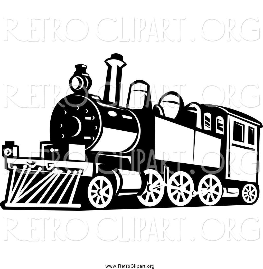 Clipart Of A Black And White Retro Train By Patrimonio