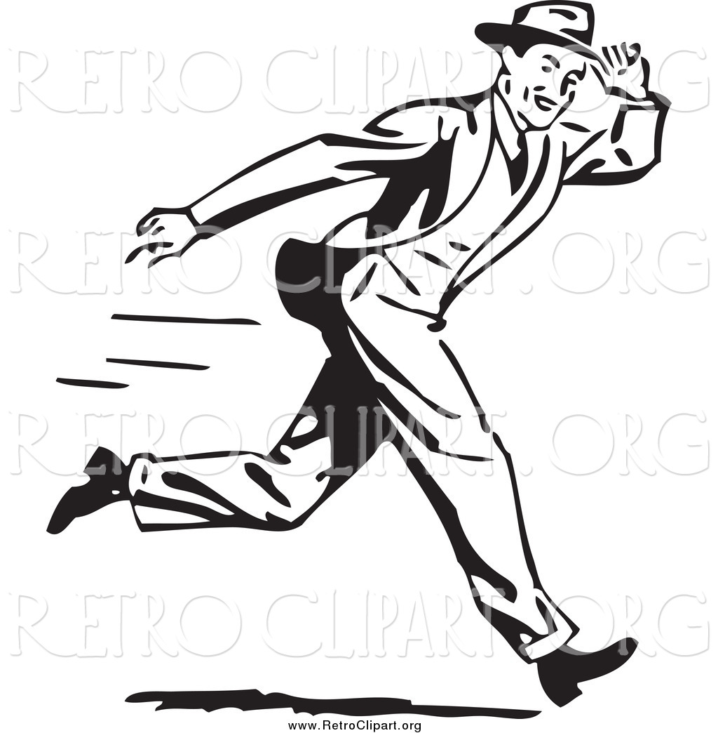 Clipart Of A Retro Black And White Guy Holding Onto His