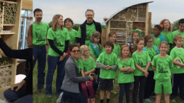 """Native, wild bees in northeast Kansas now have a much-needed space where they can hole up, nest and live, thanks to a PROSOCO-sponsored """"bee hotel"""" recently installed at the Kansas University Field Station in Lawrence."""
