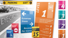 Transit by Takeform is a complete sign system for parking garages and the unique requirements of that environment.