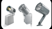 The PYROS Family of outdoor floodlights from TARGETTI includes three sizes for different architectural applications.