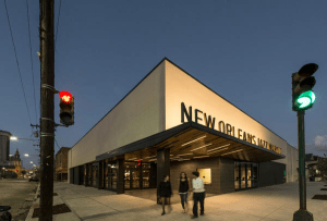 The exterior of the building required a contemporary aesthetic, signifying the forward progression of jazz music and ambitions for the future of the community.