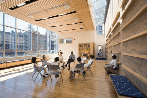 Special consideration was given to creating a balance between natural and electric light at St. Hilda's and St. Hugh's school, helping the existing building to achieve greater energy efficiency. PHOTO: Esto