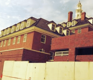 The overall goal of the restoration project was to preserve the building's historic character, a 1950s replica of the Governor's Palace in Williamsburg, Va., while incorporating modern, sustainable technology and design.