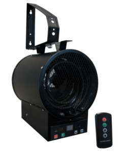 The Electric Fan-Forced Garage Heater (GH48R) features a built-in digital interface, an automatic shut-off timer, and a handheld remote for easy operations and controls.