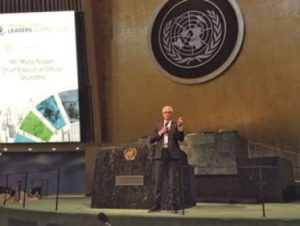 Grundfos CEO Mads Nipper speaks at the United Nations Global Compact Leaders' Summit.