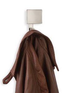 Square plate multi-level coat hook in satin nickel from Doug Mockett & Co. Inc.