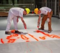 TRANSFORMZ is the layout system that transfers architect, designer, and artist patterns to the floor to be covered in epoxy terrazzo.