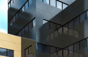 Trespa Meteon stands out in vertical exterior wall coverings such as facade cladding, balcony paneling and sun blinds.