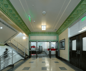 The designers maintained the Art Deco lobby.