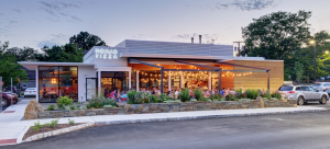 The original orientation of the building has been reversed so the restaurant's front now faces a shopping center rather than the street as the service station had. PHOTO: Michael Slack, courtesy Joshua Zinder Architecture + Design