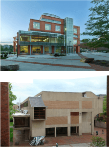 The 75,000-square-foot Wooster Science Building was dark inside and had no air conditioning or wayfinding before (bottom). Croxton Collaborative Architects opted to leave the bones and rebuild a new facility on that structural scaffold (top).