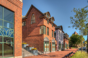 New buildings, which were inspired by the Bedford Building and Firehouse, feature retail at street level and apartments above.