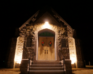 Evergreen Chapel, a neo-Gothic-style chapel, was built in 1939 to host funeral services, but its lack of utilities made it unusable until Lassel Architects completed recent upgrades.